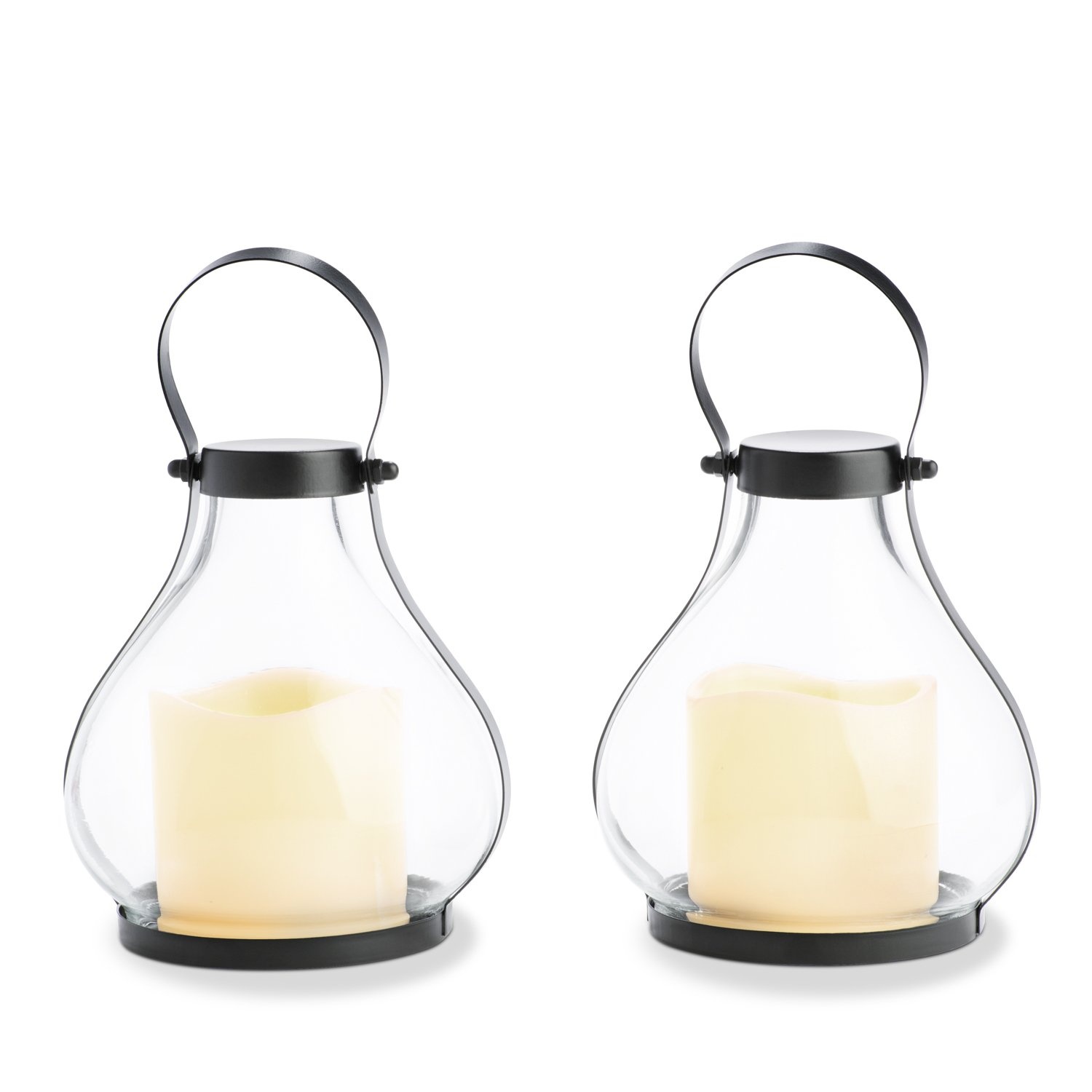 Mini Flameless Candle Lanterns - Decorative Metal and Glass Lantern Set, 8.5 Inch Height, Flickering LEDs, Indoor/Outdoor Use - 2 Pack
