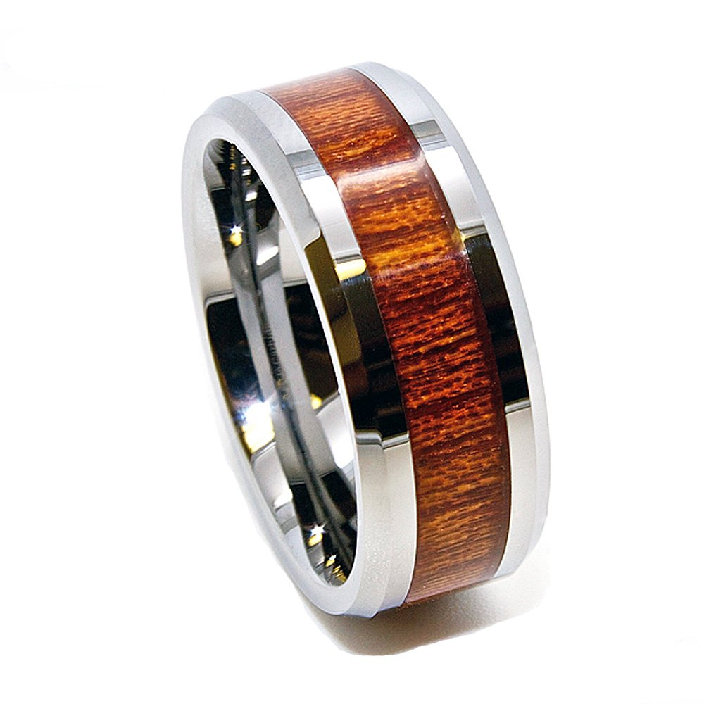 Unique 8mm Tungsten Carbide Ring with Inlaid Wood Grain Wedding Band Size 8