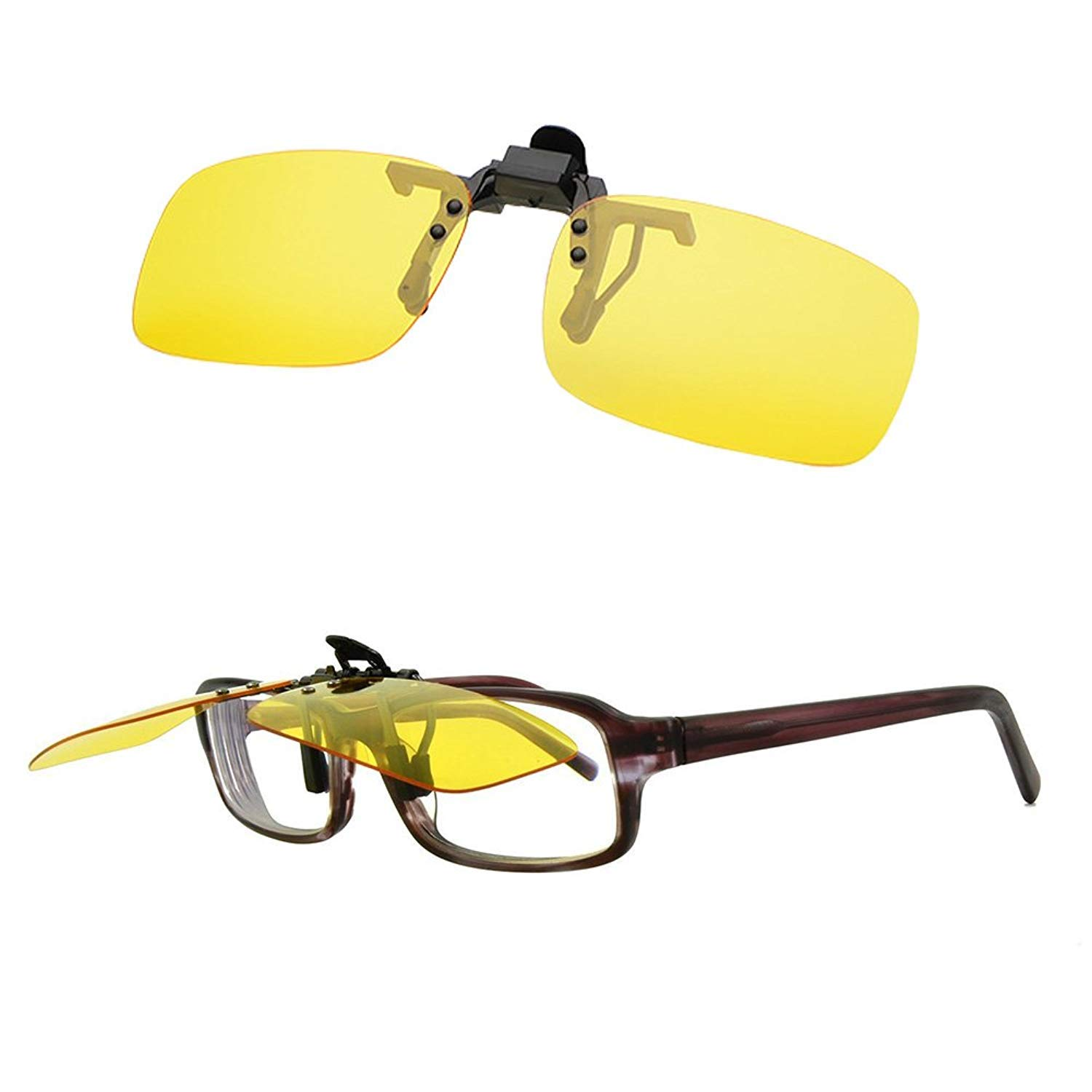 888189040e Amazon.com  Blue Light Filter Computer Night Driving Glasses Yellow Night  Vision Polarized Clip-on Flip up Sunglasses  Health   Personal Care