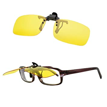 bdcf94526237 Image Unavailable. Image not available for. Color  Blue Light Filter  Computer Night Driving Glasses Yellow Night Vision Polarized Clip-on Flip up