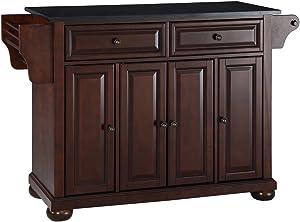Crosley Furniture Alexandria Full Size Kitchen Island with Solid Black Granite Top, Mahogany