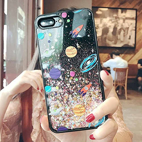 iPhone 8/iPhone 7 Case(4.7inch),Blingy's Cool Flowing Liquid Glitter Style Plastic Hard Case for iPhone 8/iPhone 7 (Space Style)