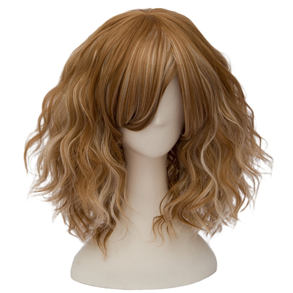 TOPMAX Fashion Mixed Blonde Short Wavy Lolita Women's Cosplay Wig Heat Resistant, 14'' L, Light Brown