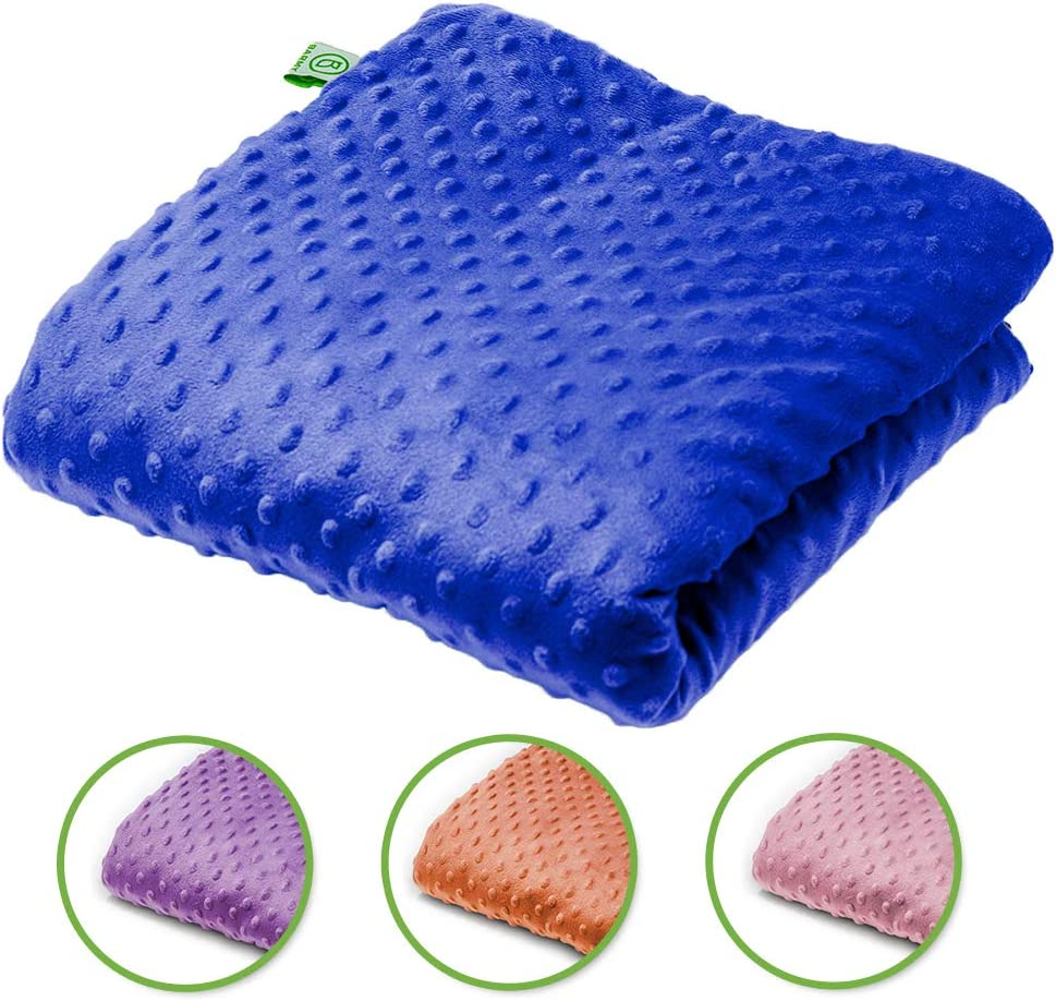 24x24 inches, 5 lbs Weighted Lap Blanket with Removable Dual-Sided Minky//Bamboo Cover Blue Ideal Gift Barmy Weighted Lap Pad for Comfort and Relaxation Travel Size