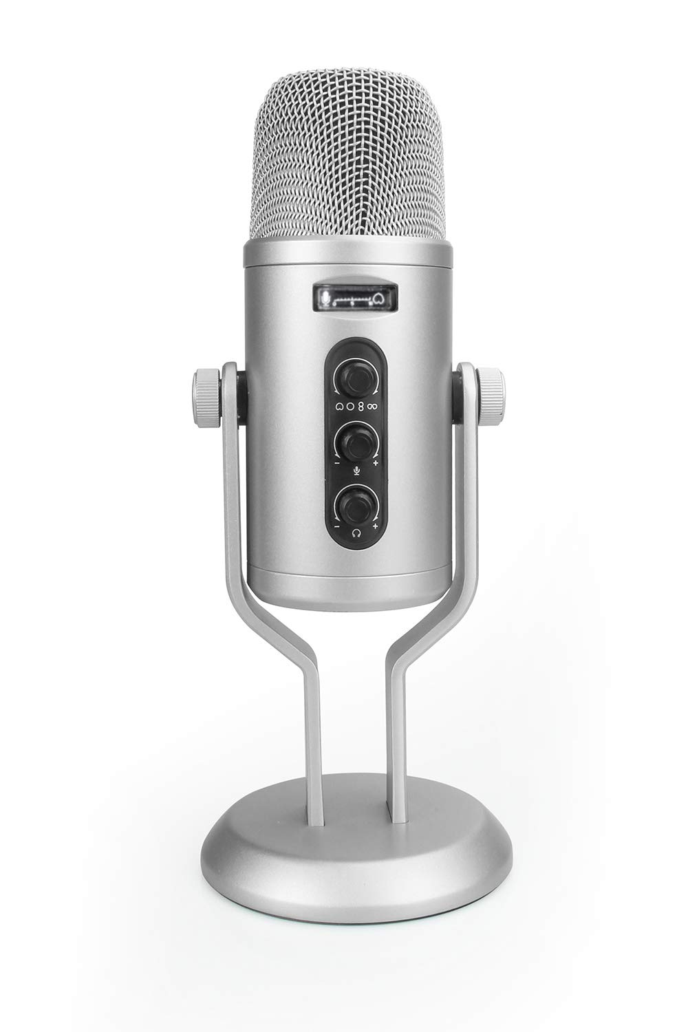 Amazon Basics Professional USB Condenser Microphone with Volume Control and OLED Screen, Silver