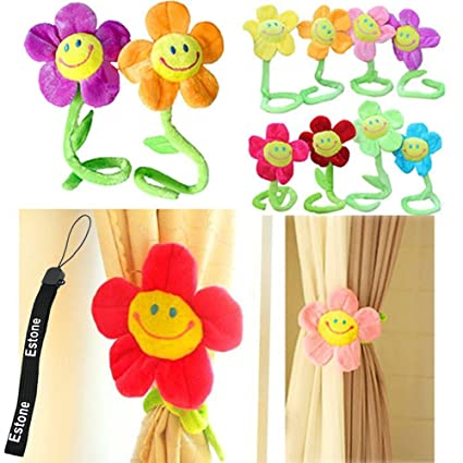 Estone 2Pcs Cute Smile Face Sunflower Plush Curtain Clip Clasps Tie Holders