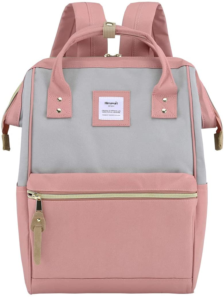 Himawari Laptop Backpack Travel Backpack With USB Charging Port Large Diaper Bag Doctor Bag School Backpack for Women&Men(9001-Gray&Pink)