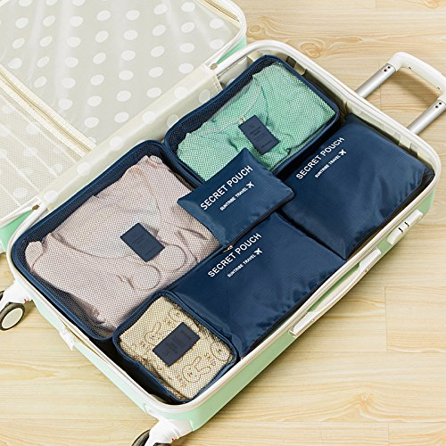 Price comparison product image Eutteum 6Pcs Waterproof Travel Storage Bag Clothes Packing Cube Navy Blue Luggage Organizer Pouch