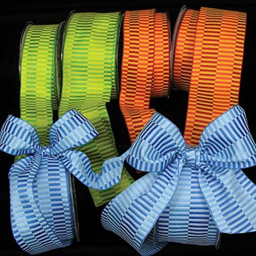 Orange Retro Blocks Print Woven Taffeta Wired Craft Ribbon 2.5
