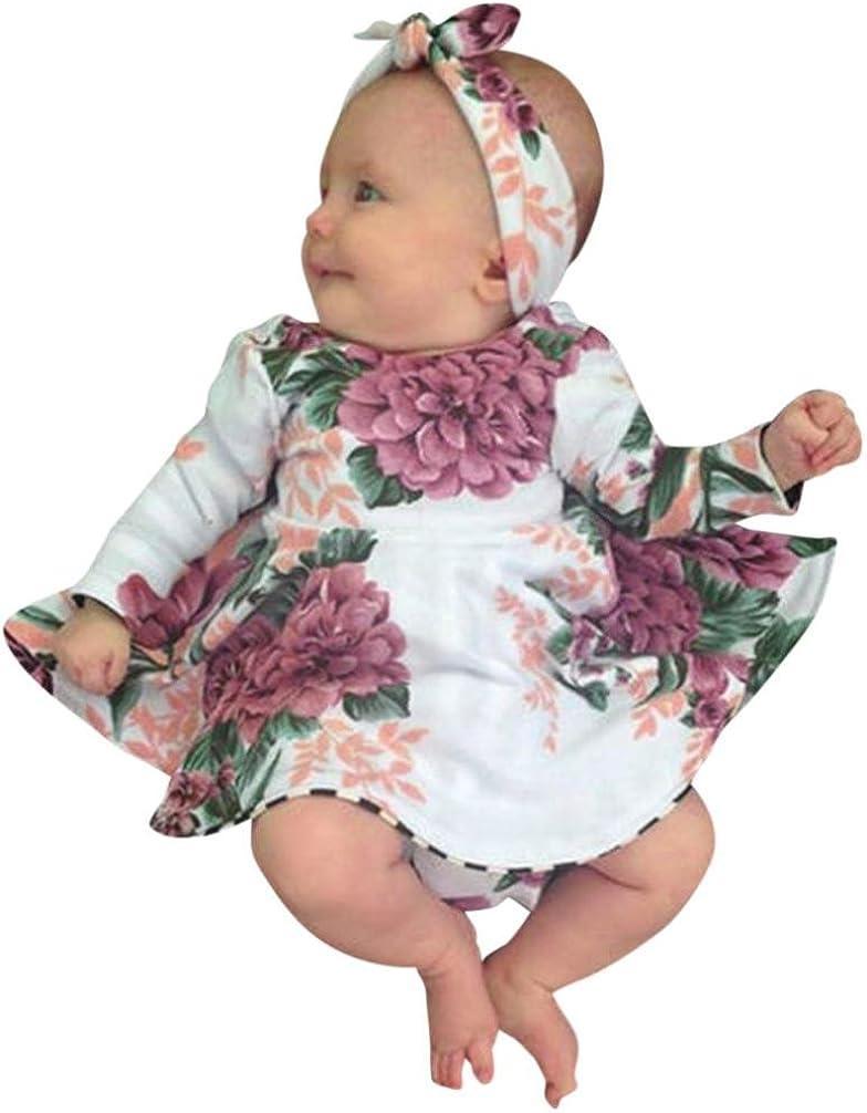 JERFER Blumen Drucken Kleid Stirnband Kleider Kleinkind Kinder Baby M/ädchen
