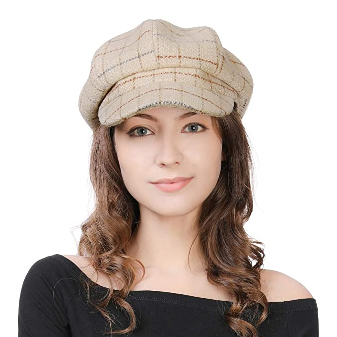 1dfa168ceaac1 Ladies Wollen Baker Boy Cap Newsboy Paperboy Cabbie Peaked Beret Vintage  1920S Cloche Winter Casual Hats for Women Beige  Amazon.co.uk  Clothing