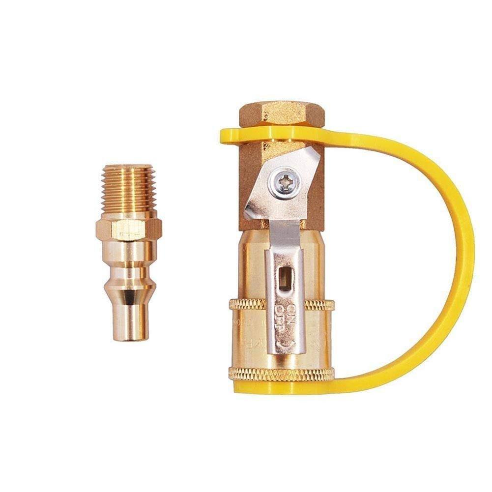 Hifuture - Kit de conexió n rá pida de gas natural de 1/4 pulgadas, vá lvula de apagado de lató n y enchufe de flujo completo, fá cil de instalar, adaptador de gas natural y propano para sistemas de propano/gas de baja pr
