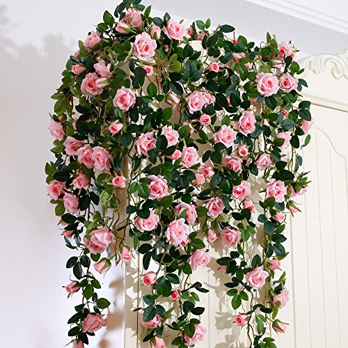 - YILIYAJIA Artificial Silk Rose Flower Ivy Vine Leaf Hanging Garland Home Wedding Decor,Pack of 2 (Pink)