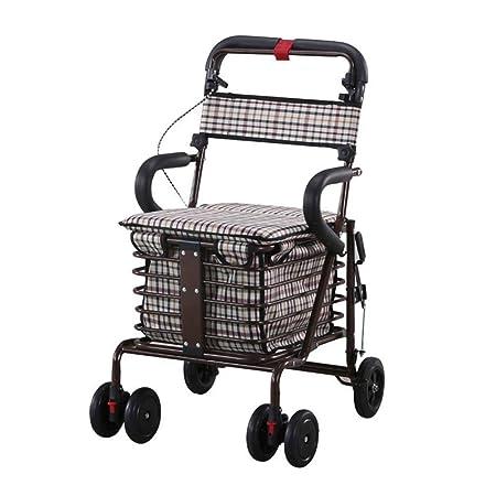 SXRNN Trolley de Aluminio Andador de Cuatro Ruedas con ...