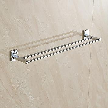 bbslt-porta toallas de latón, accesorios de baño dobles barras toallero, latón cromado toallero doble: Amazon.es: Hogar
