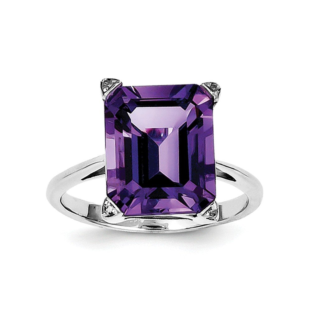14K White gold Over Square Purple Amethyst And Diamond Solitaire Ring For Women (4.61ct)