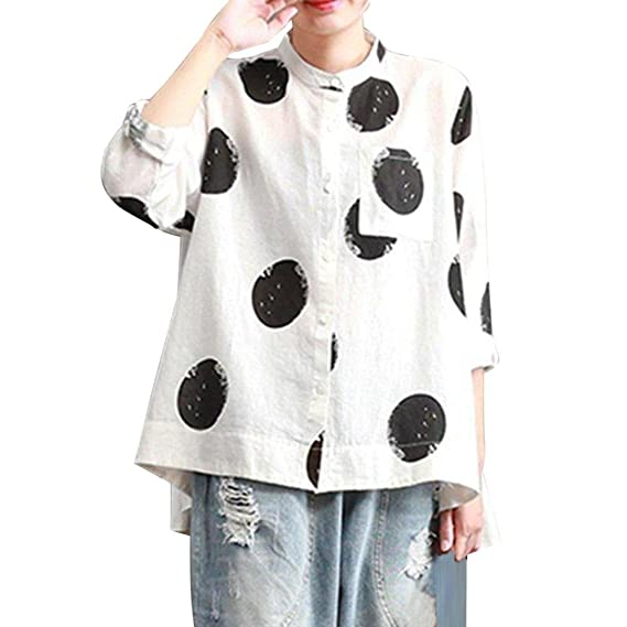 Camisa de Tallas Grandes para Mujeres Manga Larga Botón de Bolsillo Tops Casuales Blusa Suelta ❤