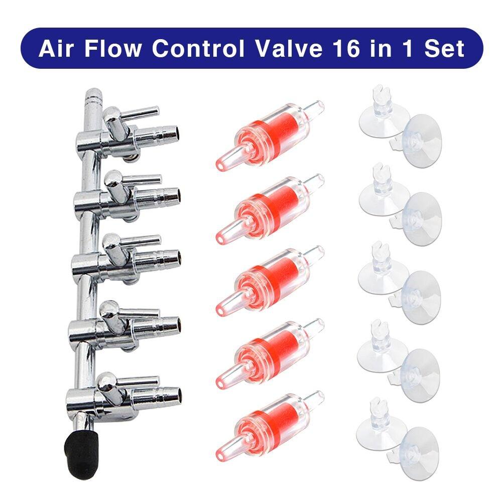 Bornfeel Aquarium Air Flow Control Air Pompe Accessoires 16 in 1 Kit 5 Voies Aquarium Air Flow Levier de Commande Vanne Distributeur Splitter 5 Vérifier Vannes et 10 Ventouse pour Fish Tank