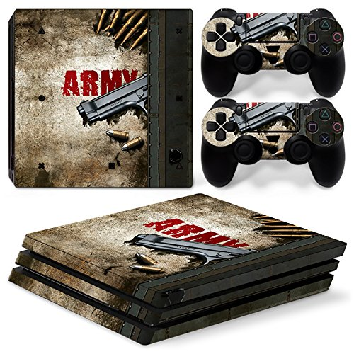 ZoomHit Ps4 PRO Playstation 4 Console Skin Decal Sticker Army War Gun + 2 Controller Skins Set (Pro Only)