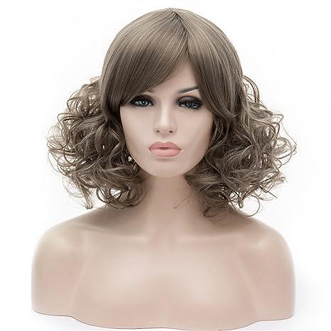 WPQES peluca sintética raya rizada corta simple del color, peluca de Víspera de Todos los