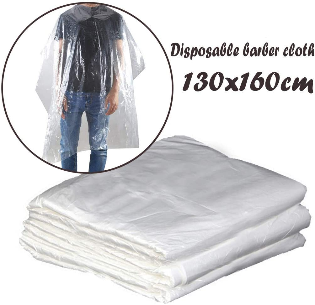 """100PC Disposable Barber Cape with Bandage Knot, Cutting Hair Waterproof Hair Salon Barber Gown Hairdressing Washing Pads Shampoo Capes 51""""×63"""" (100, Clear)"""