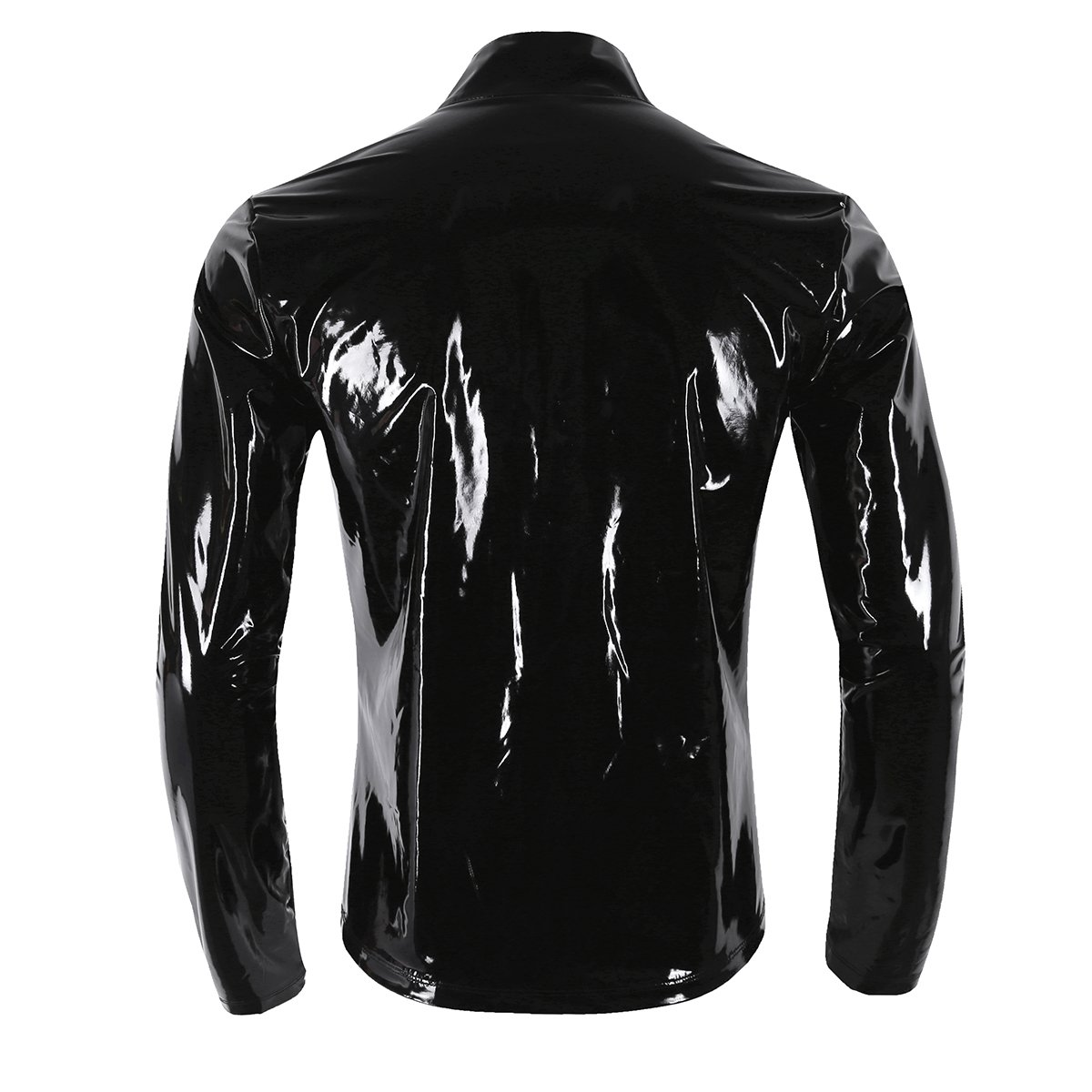 Agoky Men's Metallic Faux Leather Front-Zip Mock Neck Nightclub Style T-Shirt Top Coat Black XX-Large by Agoky (Image #3)