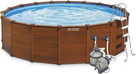 Intex 28382 - piscina desmontable tubular sequoia panel madera ...