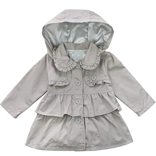 Freebily Baby Toddler Girls Fall Winter Trench Wind Dust Coat Hooded Jacket Outerwear Grey 2T