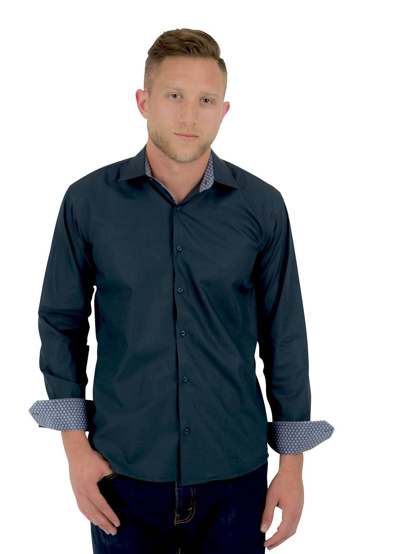 Azure Milano Men Slim Fit Untucked 100 Cotton Shirt With Italian