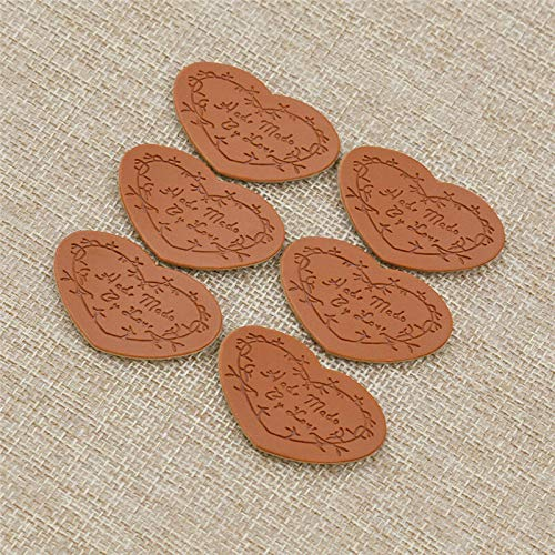 Tail Miniature Wrap - Pack of 50 Brown PU Leather Labels Different Design Sew Hand Craft Supplies Tags (Model - #05)