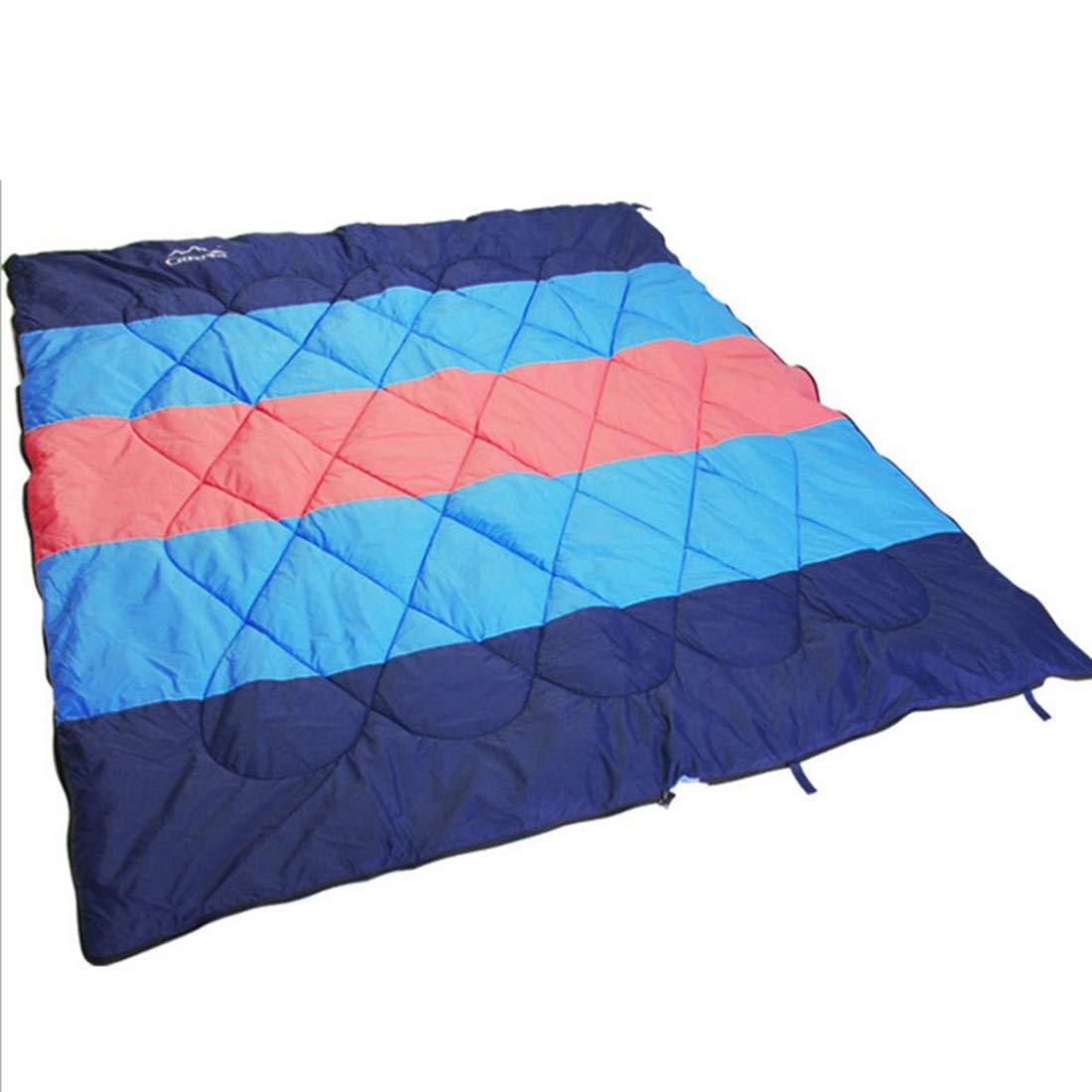 Jakiload Saco de Dormir Doble para mochilero, Acampar o Saco IR de excursión Saco o de Dormir Impermeable para 2 Personas, para Clima frío, para Adultos o Adolescentes (Color : Azul) 3a5674