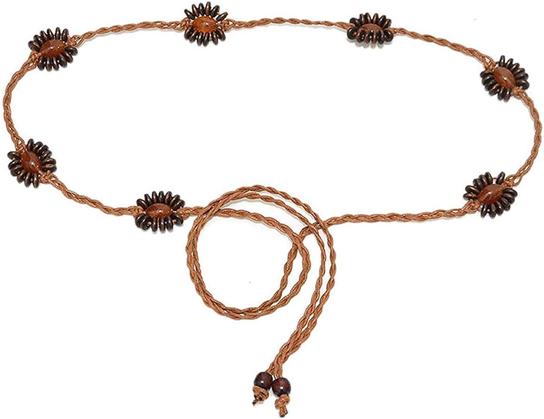 Cinturón De Mujer Cinturón Cinturón Mujer De Esencial De Cuero Cadena De Piedras Preciosas De Arroz Retro Cadena De Cintura Tejida 70 Cm Ancho Ca 3 Cm Con Cuerda Encerada