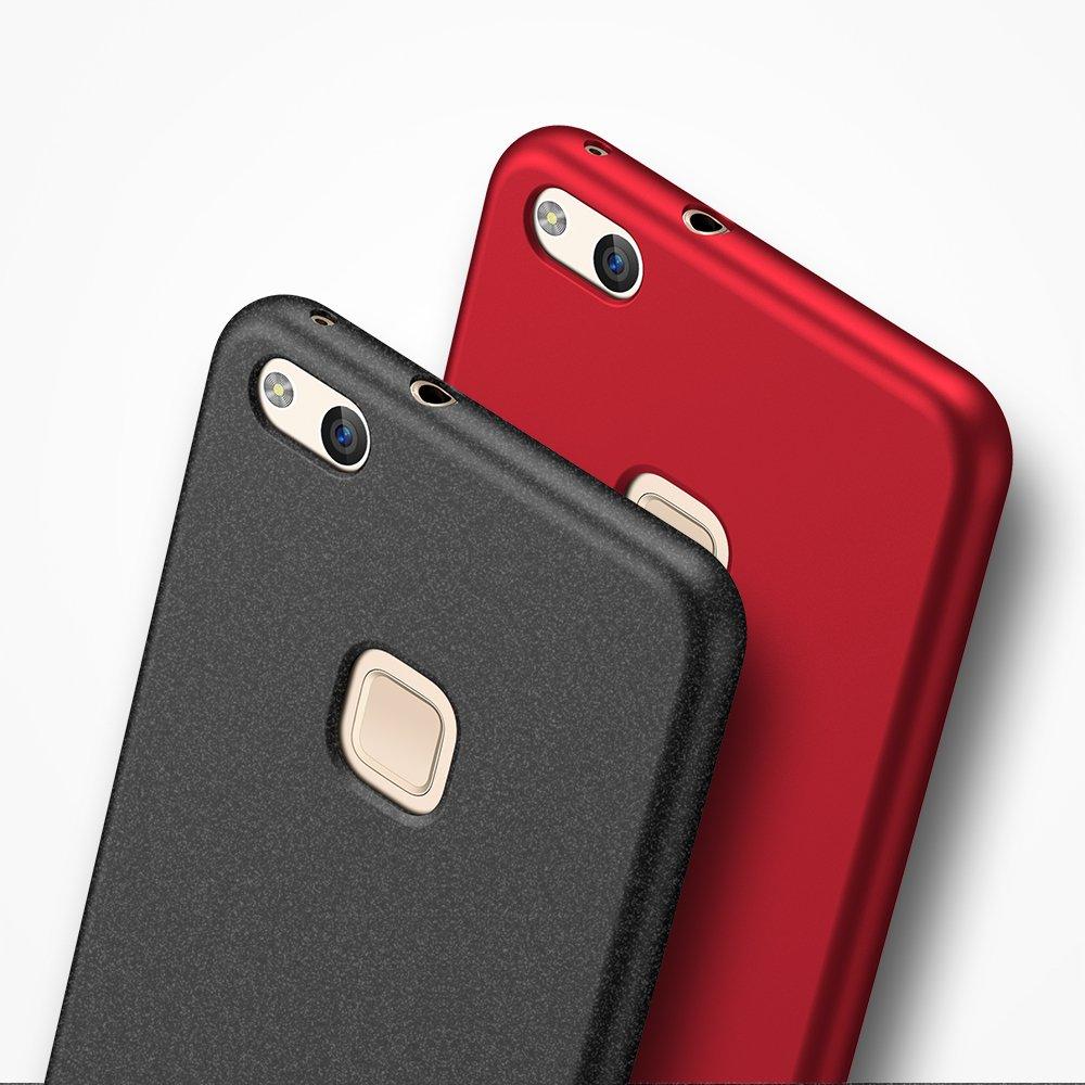 anccer Funda Huawei P10 Lite Negro Liso Ultra Slim Anti-Rasgu/ño y Resistente Huellas Dactilares Totalmente Protectora Caso de Duro Cover Case para Huawei P10 Lite