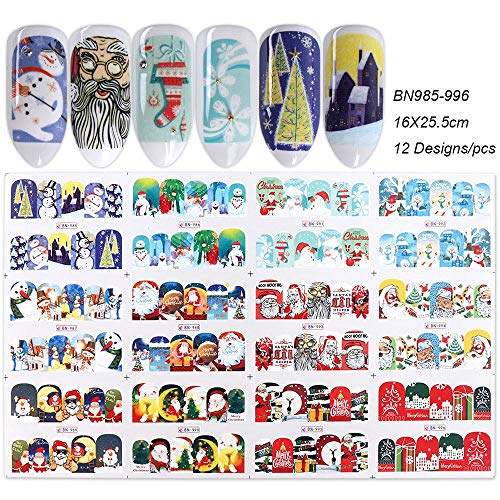 12 Designs Christmas Water Nail Stickers Transfer Decals Sliders Snowman Deer Halloween Gel Polish Wraps Nail Decor TRBN985-1032 BN985-996 -