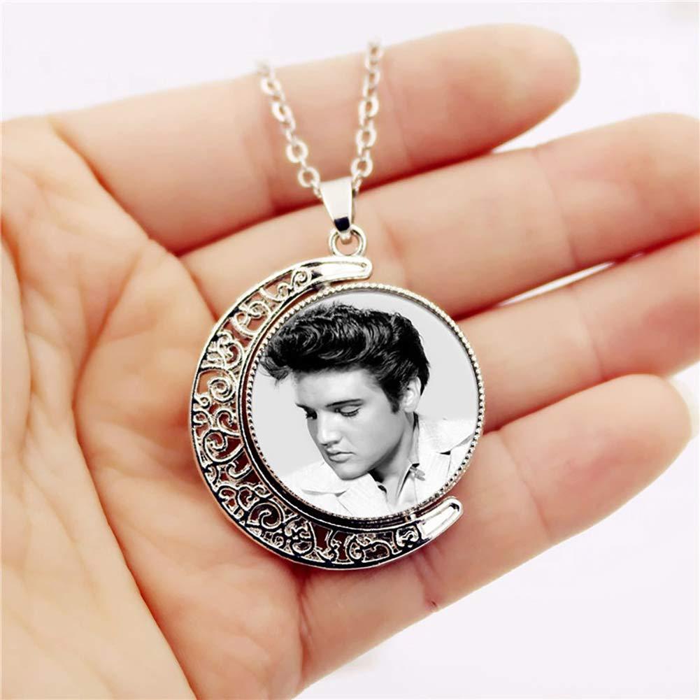 Nacola con cabochon di Elvis Presley e foto su entrambi i lati Silver Collana con ciondolo a mezza luna