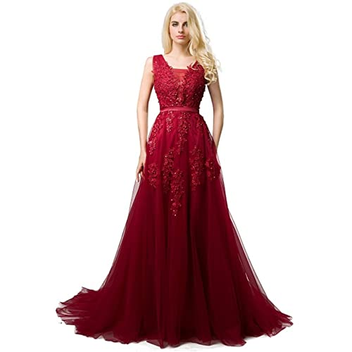 SHANGSHANGXI Formal Evening Dresses Deep V-Neck Tulle Burgundy Prom Dresses for Women
