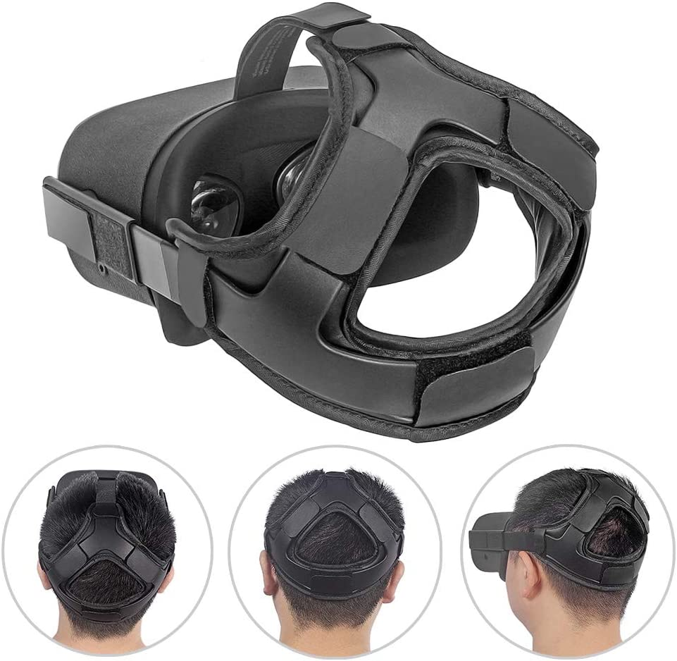 HIJIAO Head Strap Pad/&Silicone Face Cover for Oculus Quest Headset,Cushion Pad for Oculus Quest Accessories Reduce Head Pressure Better Wrapped Head(As Shown)