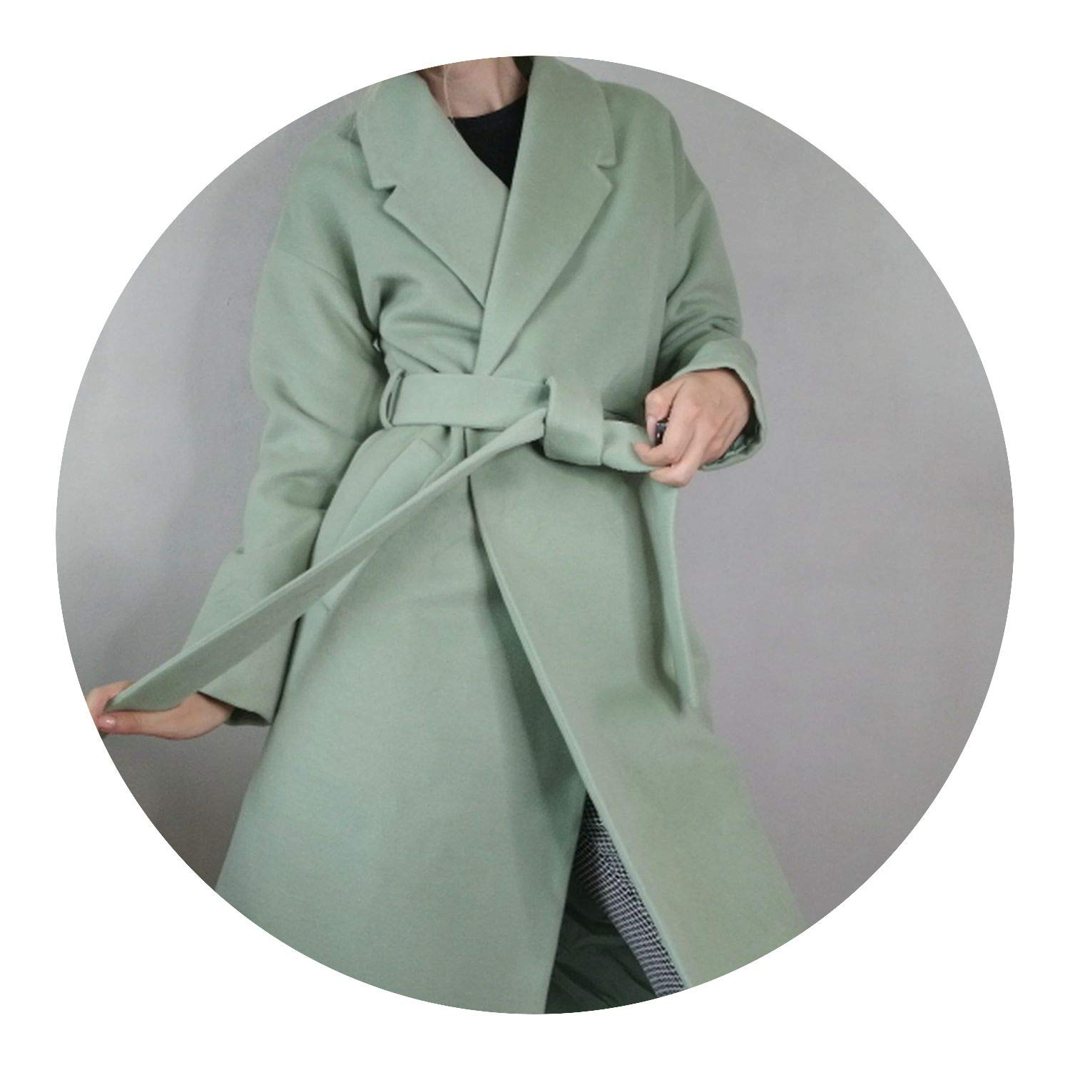 Amazon.com: Fall Winter Cashmere Look Robe Belted Coat Woolen Outerwear Manteau Femme Abrigos Mujer: Clothing