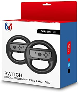 Gh Large Sizes Switch Steering Wheel For Adults Mario Kart 8 Deluxe Racing Wheel For Nintendo Joy Con Controller Blackx2