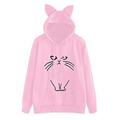 Cat Ear Hoodies Women Printed Loose Pink Hooded Sweatshirt Tops Cute ... 96236e8342