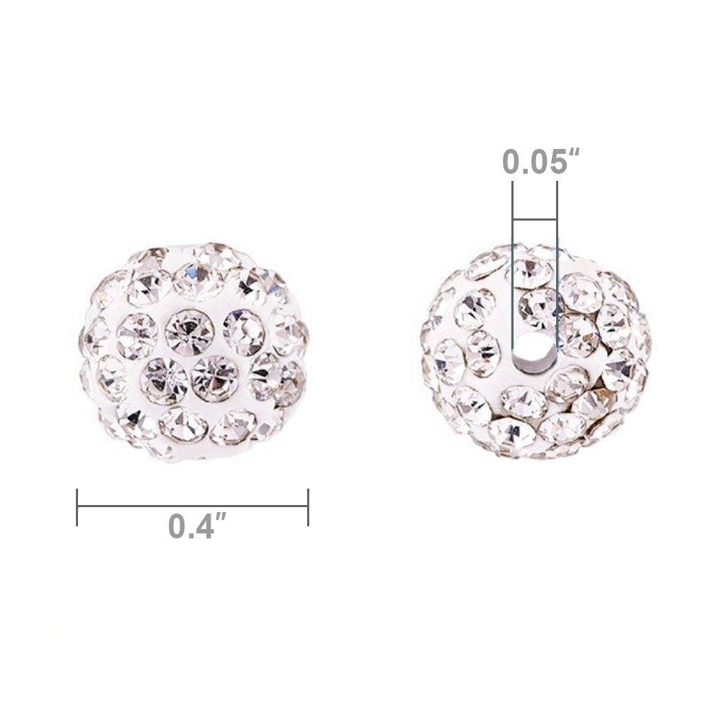 150pcs Disco Ball Beads,Pave Beads 10mm Shamballa Beads Clay Beads for Jewelry Making (White)