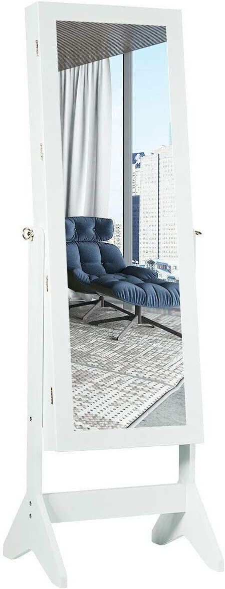 Home Modern Led Mirrored Jewelry Cabinet Armoire W/Drawer Christmas Gift White #TEE1