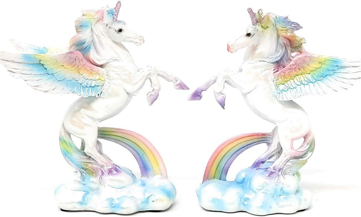 amazon com lcm alicorn winged unicorn set of two statues rainbow design 5 inches tall pdj 543 home kitchen lcm alicorn winged unicorn set