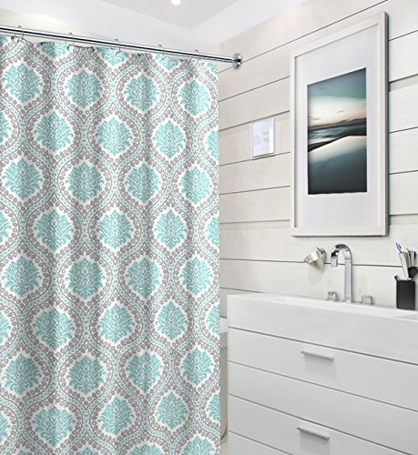 Aqua Grey White Fabric Shower Curtain: Canvas with Decorative Floral Damask Design, 70