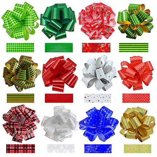 Pack of 24PCS Christmas Gift Wrap Ribbon Pull Bows, 12 Large 7.5