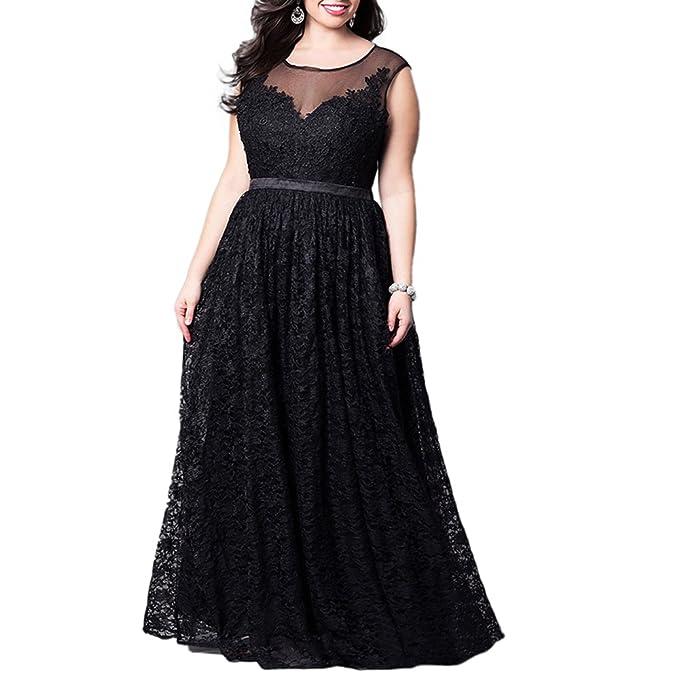 Señora de Encaje Floral Vestido de Fiesta Gran Tamaño Cóctel Maxi Vestido de Noche,Negro