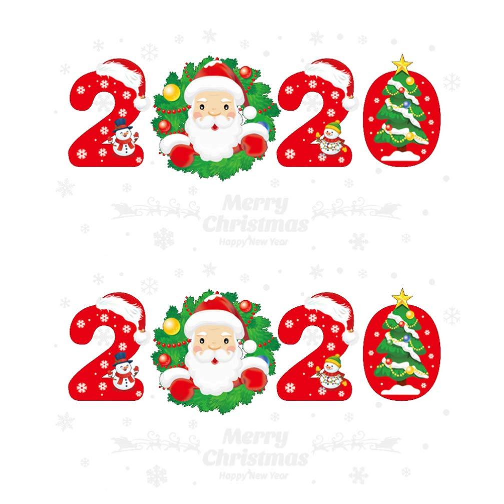 UPKOCH no/ël Stickers muraux 2020 Bonne ann/ée fen/être semballe Joyeux no/ël Hiver fen/être Sticker Mural no/ël Parti Autocollants Ornements Vacances Parti Fournitures Favors 2pcs