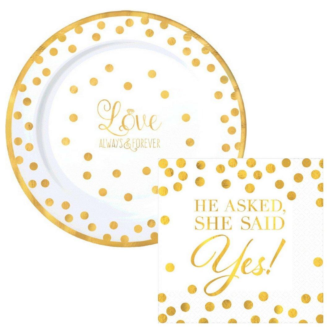 Love Premium Gold Dot Party Supply Pack! Bundle Includes Premium Plastic Plates & Napkins for 10 Guests