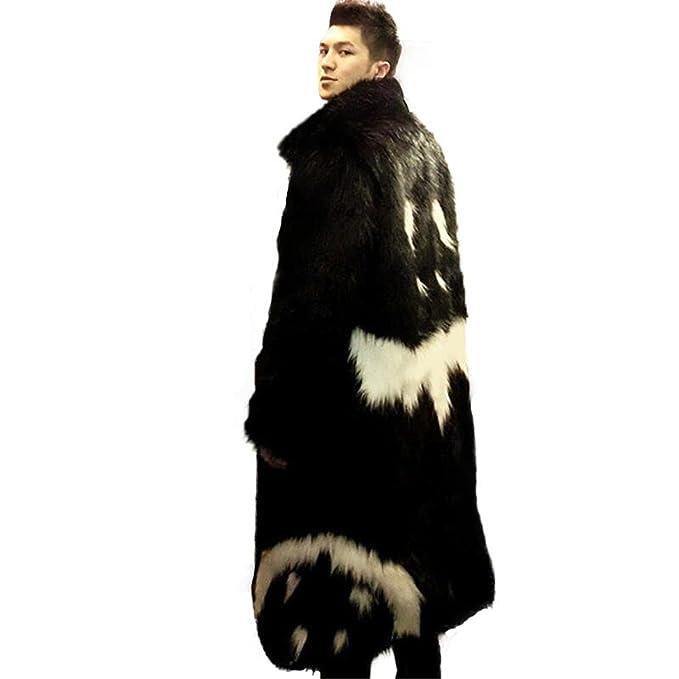 2870dca0cc51a Amazon.com  Musamk Dashing 2016 new men s winter faux fur jacket Black gown  white devil Style long section windbreaker Fox thick warm fashion High  Grade  ...