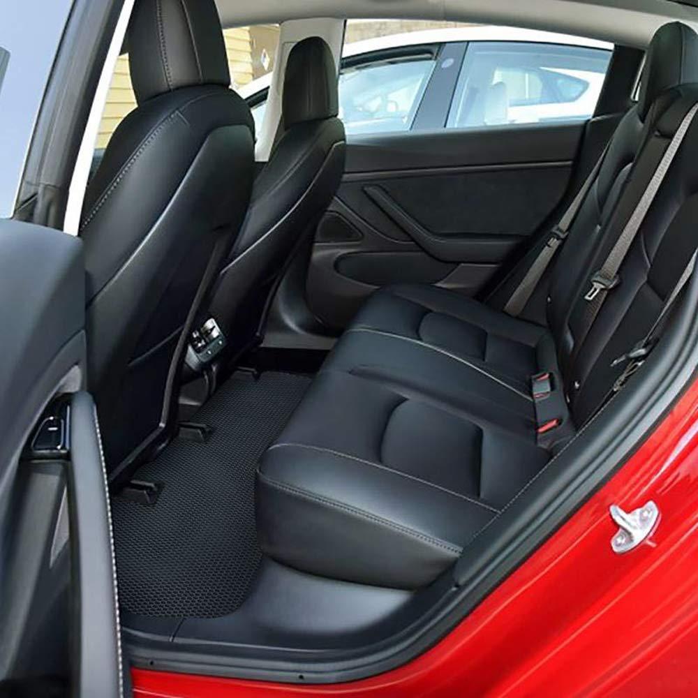 3 Piece a Set All Weather Waterproof Floor Mats Compatible for Tesla Model 3 Heavy Duty Black Rubber Environmental Materials Car Carpet Model 3